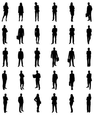 čtyři lidé: Sada obchodníků Icons Siluety. Vector Image