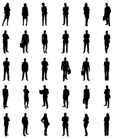 arms raised: Set Of Businesspeople Icons Silhouettes. Vector Image