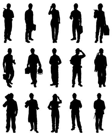 civil engineers: Vector Illustration Of Workers Silhouettes Over White Background