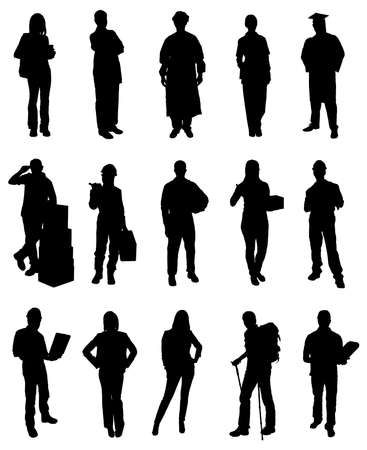 various occupations: Set Of People Various Occupations Silhouettes. Vector Image Illustration