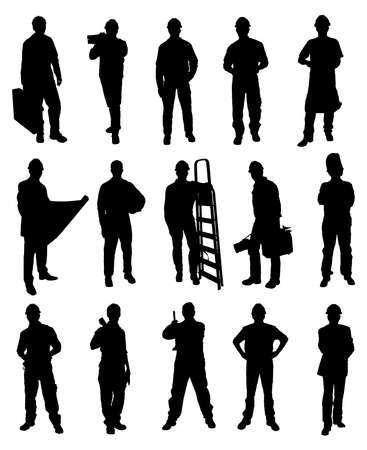 Silhouettes Of Handyman Set Over White Background Çizim