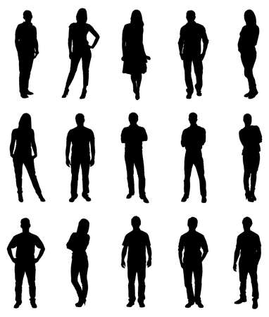 standing: Set Of Trendy People Silhouettes. Vector Image Illustration