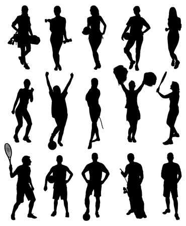 badminton: Set Of Different Sports Activity Silhouettes. Vector Image
