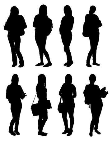 Set Of Vector Students Silhouettes With Backpacks And Books. Vector Image Vettoriali