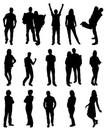 many: Vector Black Silhouettes Of People Over White Background Illustration