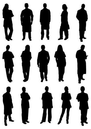 silueta humana: Conjunto De Siluetas médicos profesionales. Imagen vectorial