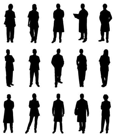 background person: Collage Of Medical Practitioners Standing Silhouettes. Vector Image
