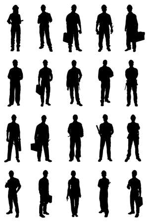 builder: Set Of People Silhouettes From Various Professions. Vector Image