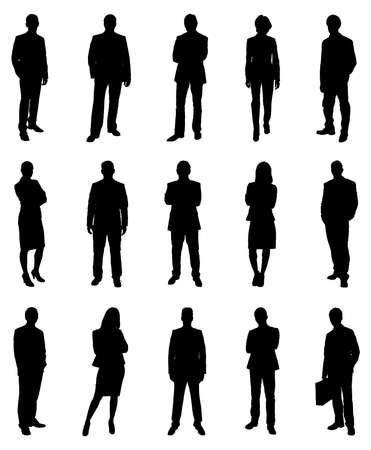 male: Collection Of Various Businesspeople Silhouettes. Vector Image
