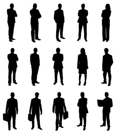 Set Of Businesspeople Illustration Silhouettes. Vector Image Illustration