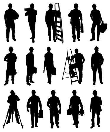 stepladder: Set Of Illustration Workers Silhouettes. Vector Image Illustration