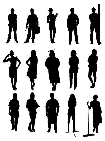 civil engineers: Collection Of Various Professional People Silhouettes. Vector Image Illustration