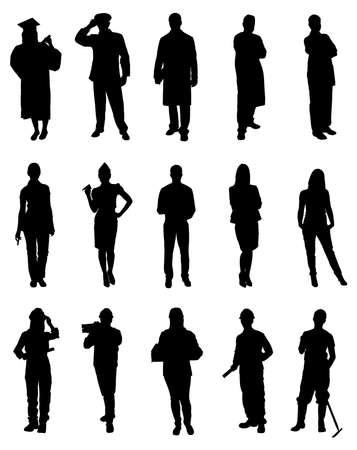 mujer trabajadora: Conjunto De Las Siluetas Profesional. Imagen vectorial
