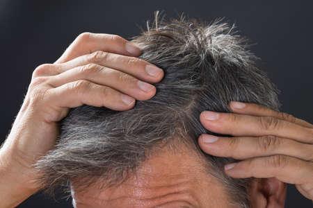 그의 흰 머리를 검사하는 남자의 근접 촬영