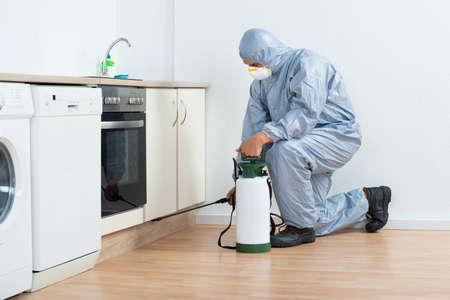mantenimiento: Longitud total de exterminador de la fumigación con pesticidas en gabinete de madera en la cocina