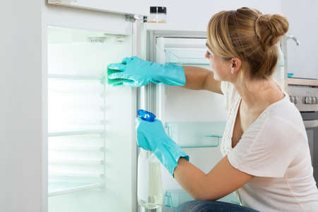 Young woman cleaning refrigerator with sponge and spray at home