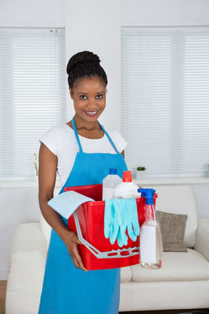 african basket: Smiling African Woman Holding Basket With Cleaning Equipment Stock Photo