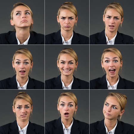 expresiones faciales: Collage de negocios con diferentes expresiones sobre fondo gris