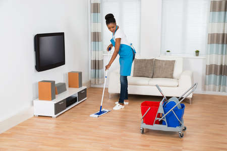 house maid: Young Woman Cleaning Floor With Mop In Living Room