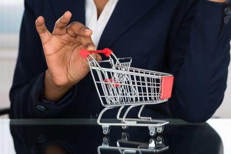 negocios comida: Primer plano de la empresaria que sostienen el carro en el escritorio