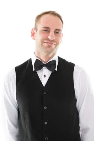 hospitality staff: Portrait of handsome mid adult waiter isolated over white background