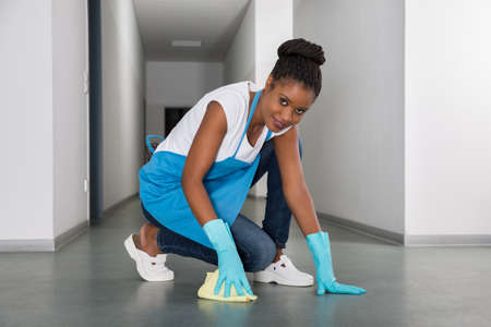 floor cloth: Portrait Of Young African Woman Cleaning Floor With Cloth Stock Photo