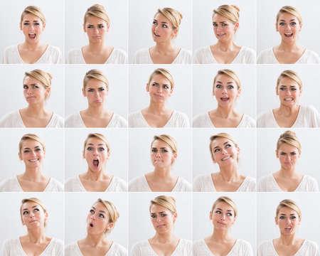 gestos de la cara: Collage de mujer joven con diversas expresiones sobre el fondo blanco Foto de archivo