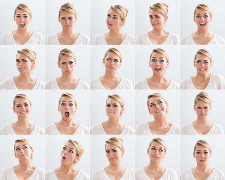facial expression: Collage of young woman with various expressions over white background