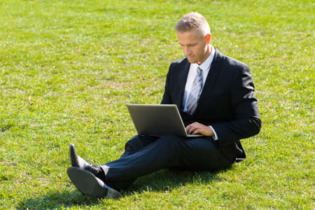 people relaxing: Businessman Sitting On Green Grass Using Laptop