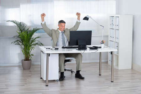 businessman in office: Successful businessman with arms raised celebrating victory at computer desk in office