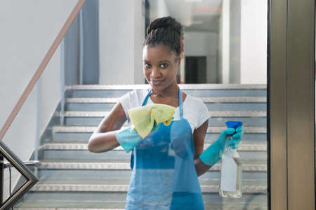 black lady: Portrait Of Smiling African Woman Cleaning Glass With Rag