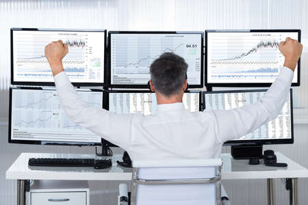 celebrating: Rear view of successful stock market trader looking at graphs on multiple screens in office