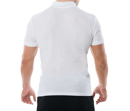 mid thirties: Rear view midsection of man in casuals standing against white background