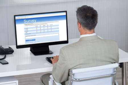 web survey: Rear view of businessman filling survey form on computer at desk in office