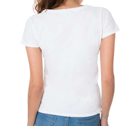 white woman: Rear view of young woman wearing blank tshirt against white background