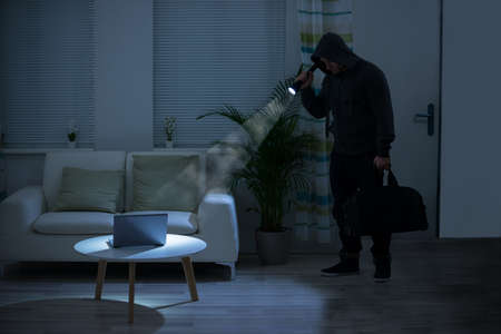 intruding: Full length of robber holding flashlight over laptop on table at home