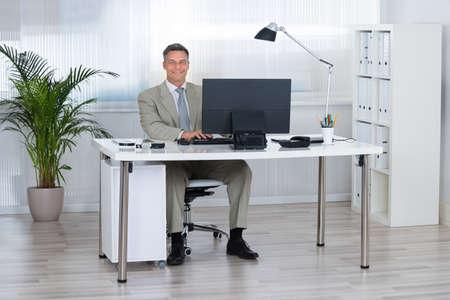 working desk: Portrait of smiling businessman using computer at desk in office