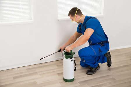 Vista lateral del trabajador masculino pulverización de pesticidas en la pared en el hogar