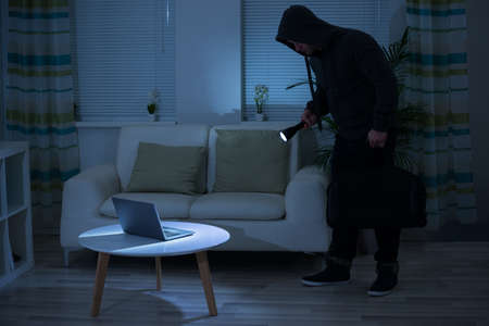thievery: Full length of robber holding flashlight over laptop on table at home