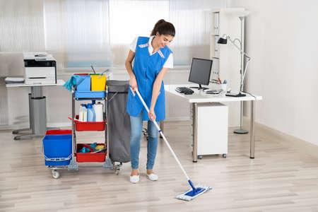 mujer limpiando: Retrato integral de la planta conserje de remanentes feliz hembra en la oficina