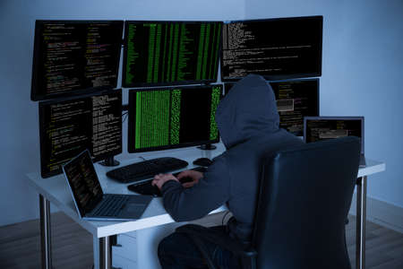programming: Rear view of hacker using computers to steal data in office