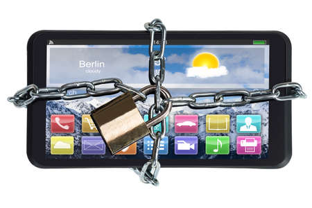 are trapped: Closeup of digital tablet trapped with padlock and chain against white background Stock Photo