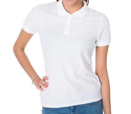 woman white shirt: Midsection of young woman wearing blank tshirt on white background Stock Photo