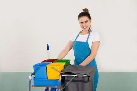 house maid: Portrait Of Happy Female Janitor With Cleaning Equipment