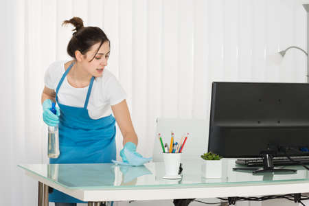 desk tidy: Happy Young Female Janitor Cleaning Desk With Rag