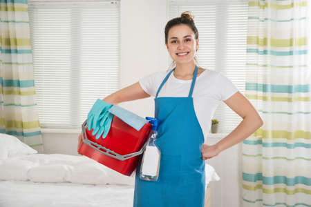 cleaning services: Portrait Of Happy Female Housekeeper With Cleaning Equipment