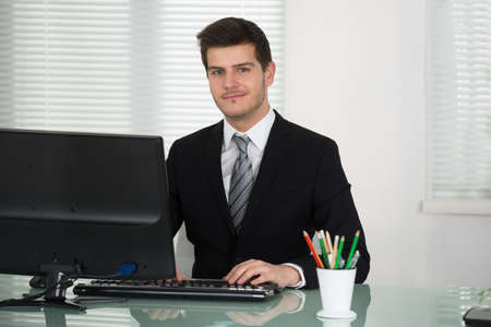working on computer: Young Businessman Working On Computer In Office