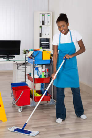 mopping: Female Janitor With Cleaning Equipments Mopping Hardwood Floor In Office Stock Photo