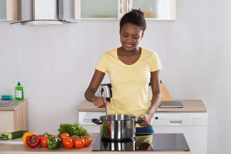 Young Happy Woman Cooking Meal On Induction Cooker In Kitchen