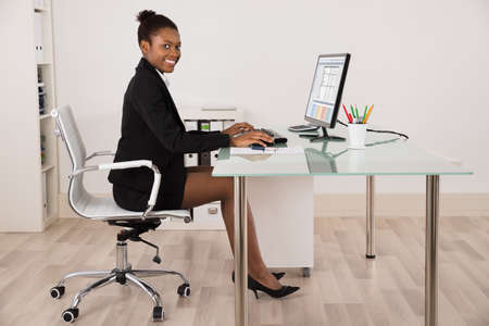 Young Happy Businesswoman Working On Computer At Office
